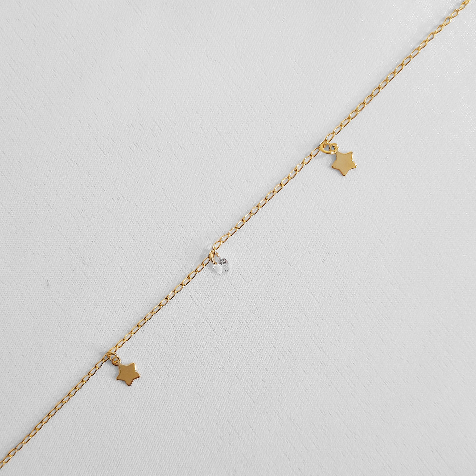 Pulseira Estrelas e Zircônia Folheada Ouro 18k  - Lunozê Joias