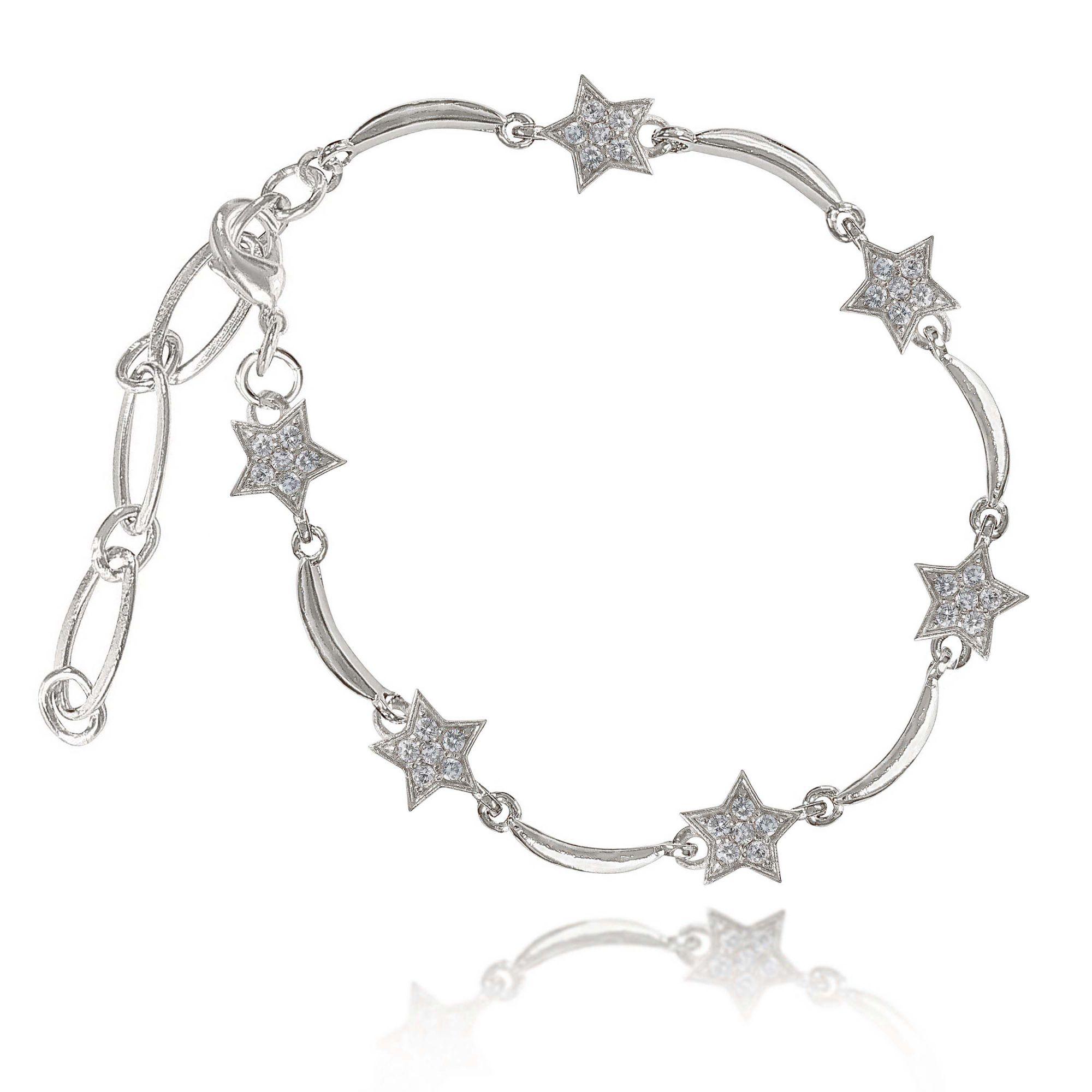 Pulseira Estrelas Cravejadas de Zircônias Folheado a Prata 1000