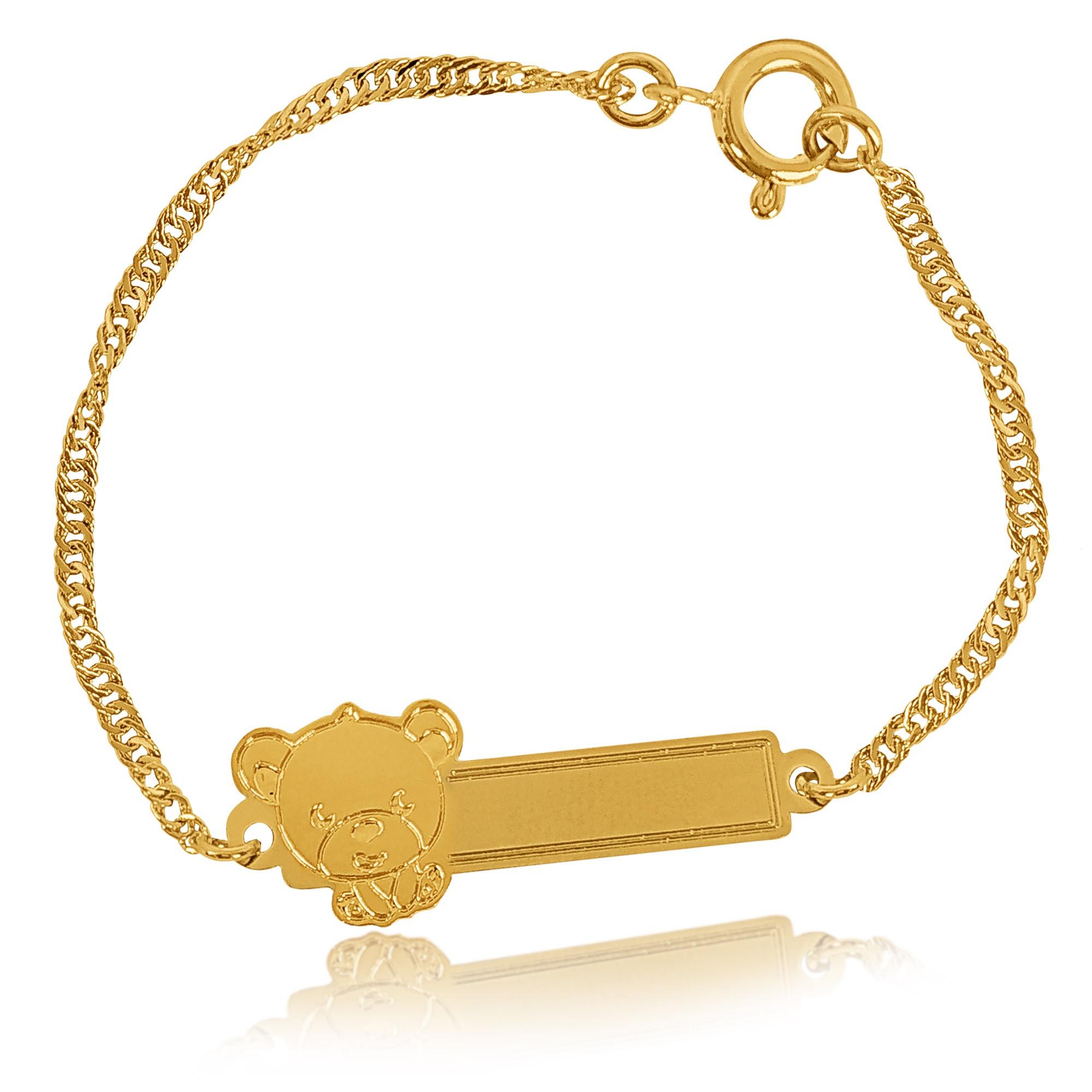 Pulseira Infantil Gravação Urso Folheado a Ouro 18k