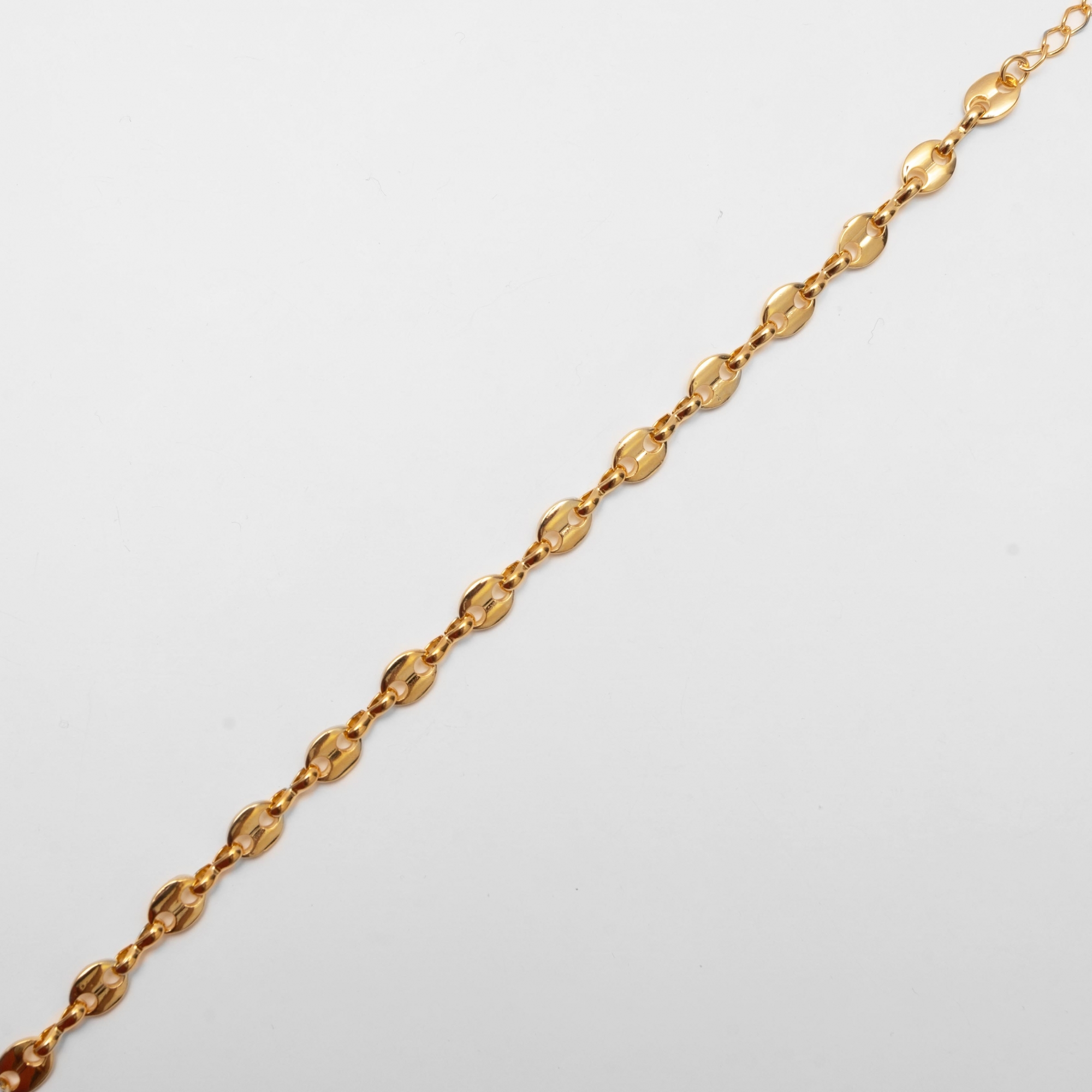 Pulseira Malha Botões Folheada Ouro 18K  - Lunozê Joias