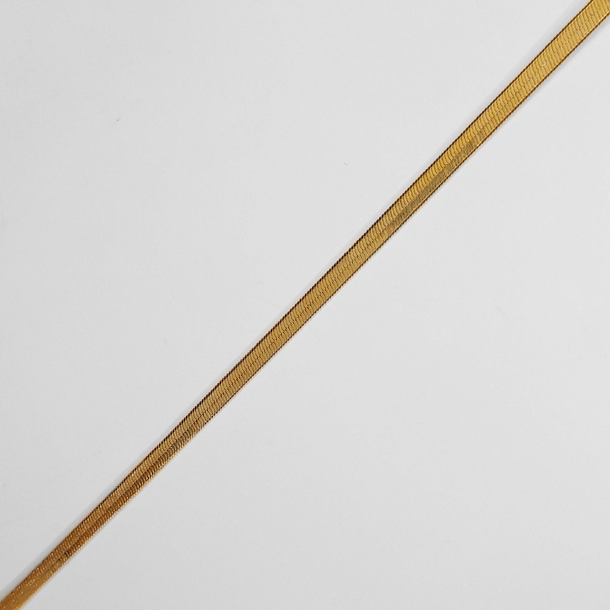 Pulseira Malha Serpente 3mm Folheada a Ouro 18k  - Lunozê Joias