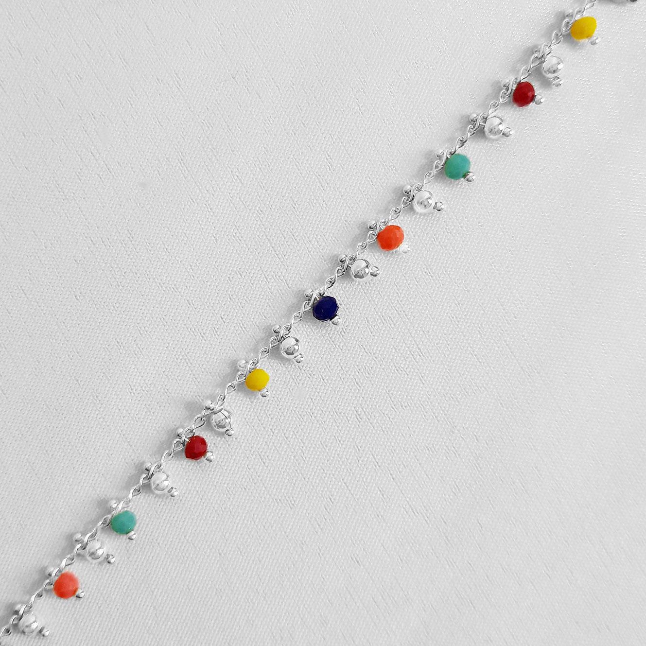 Pulseira Miçangas Coloridas Folheada a Prata 1000  - Lunozê Joias