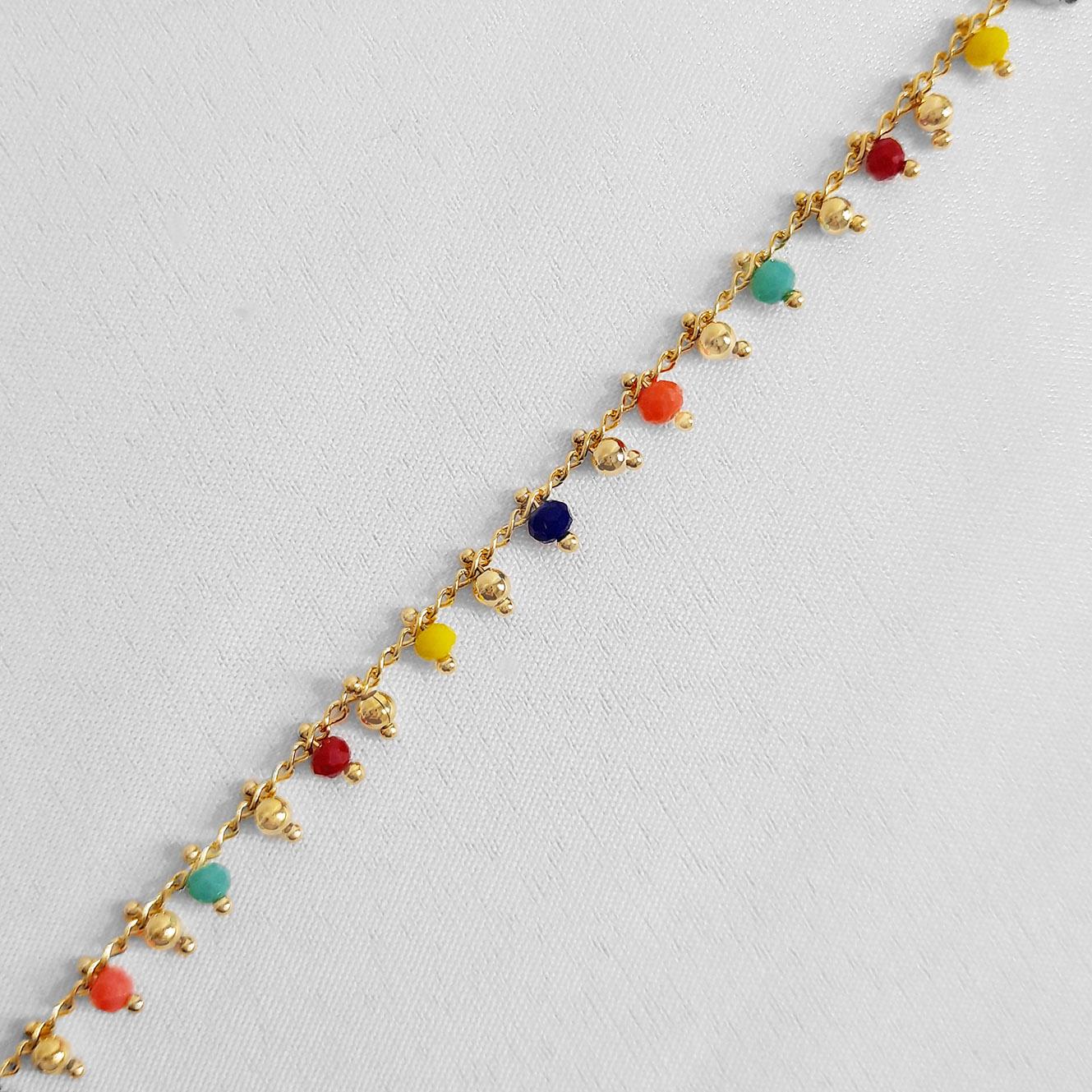 Pulseira Infantil Miçangas Coloridas Folheada Ouro 18K  - Lunozê Joias