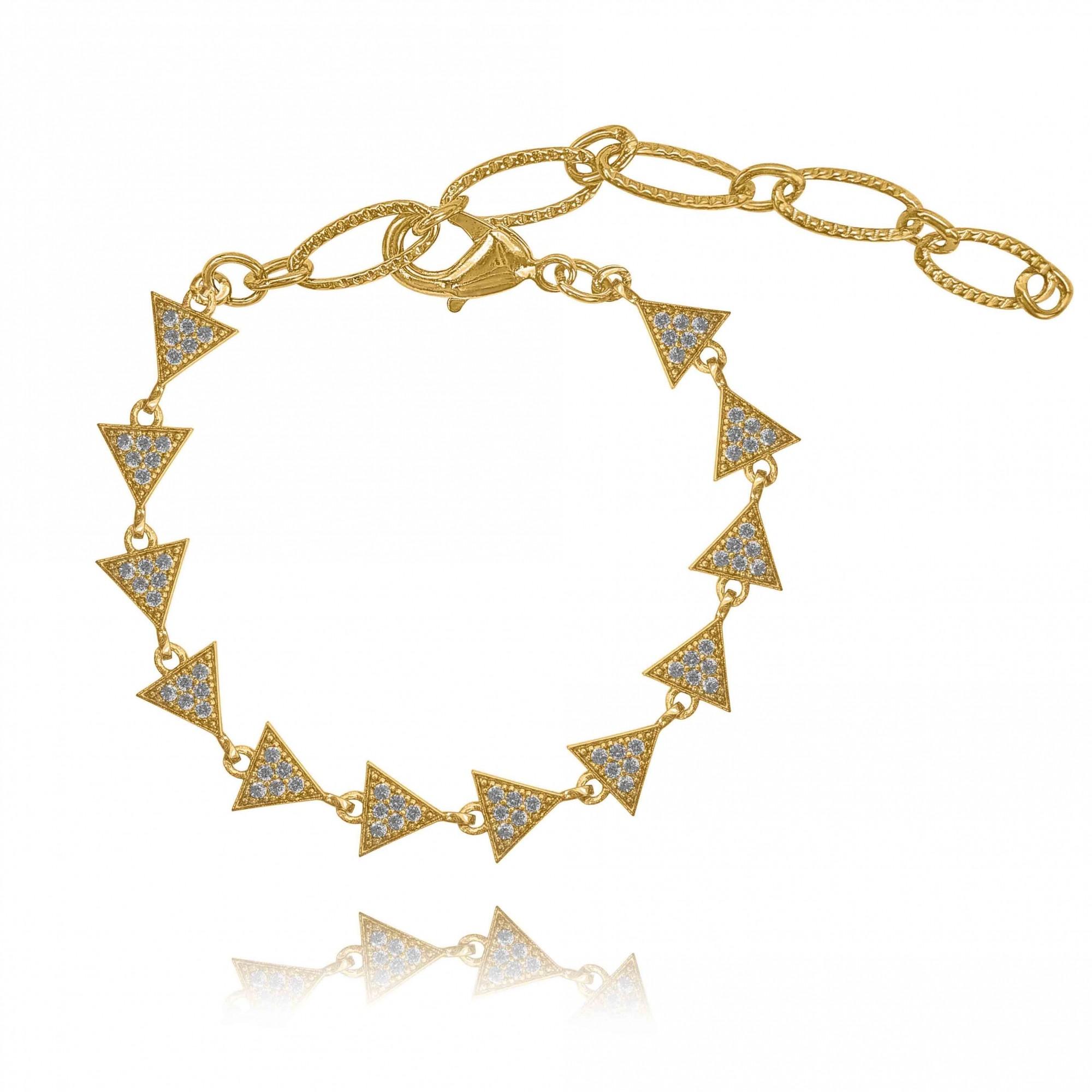 Pulseira Multi Triângulos com Zircônias Folheado a Ouro 18k