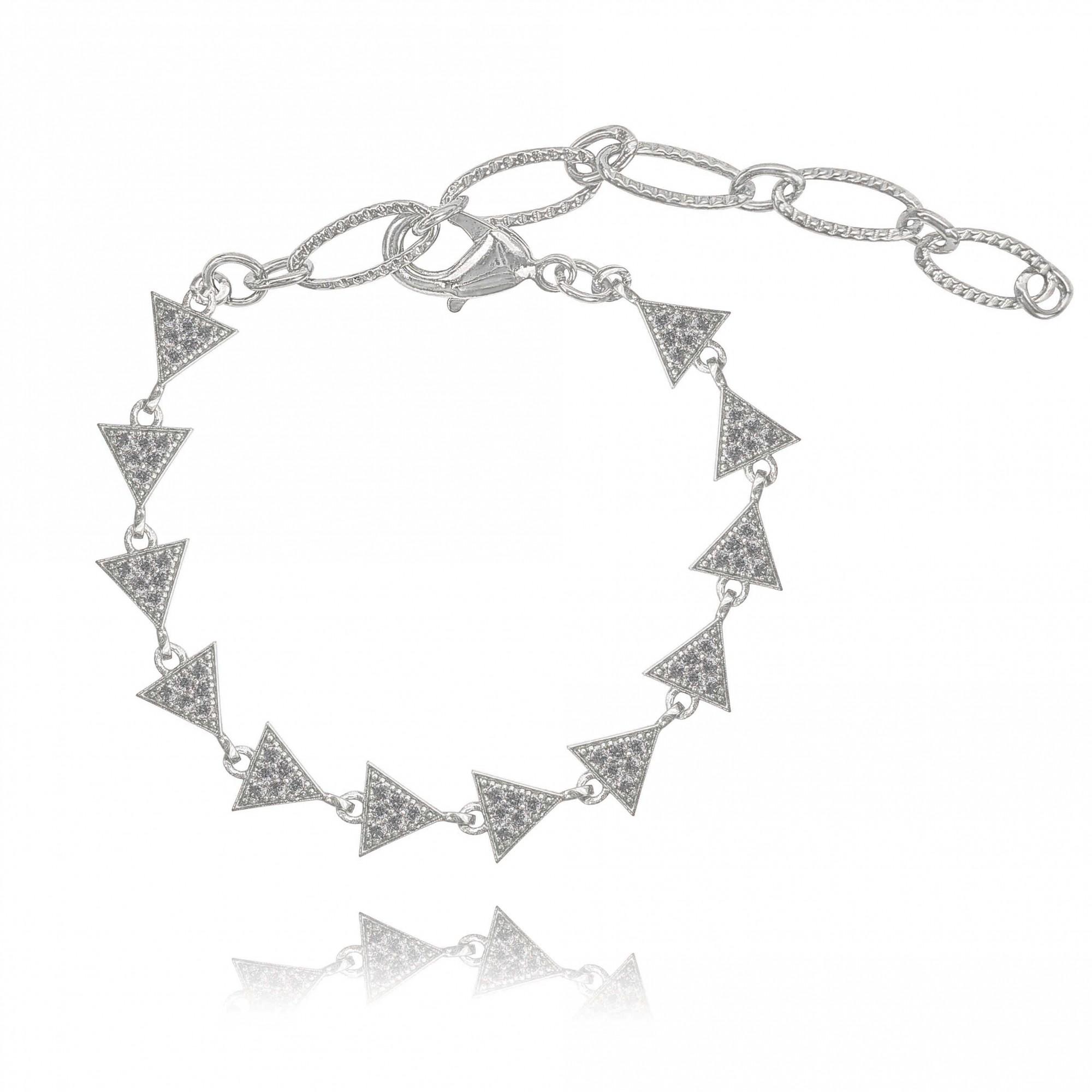 Pulseira Multi Triângulos com Zircônias Folheado a Prata 1000