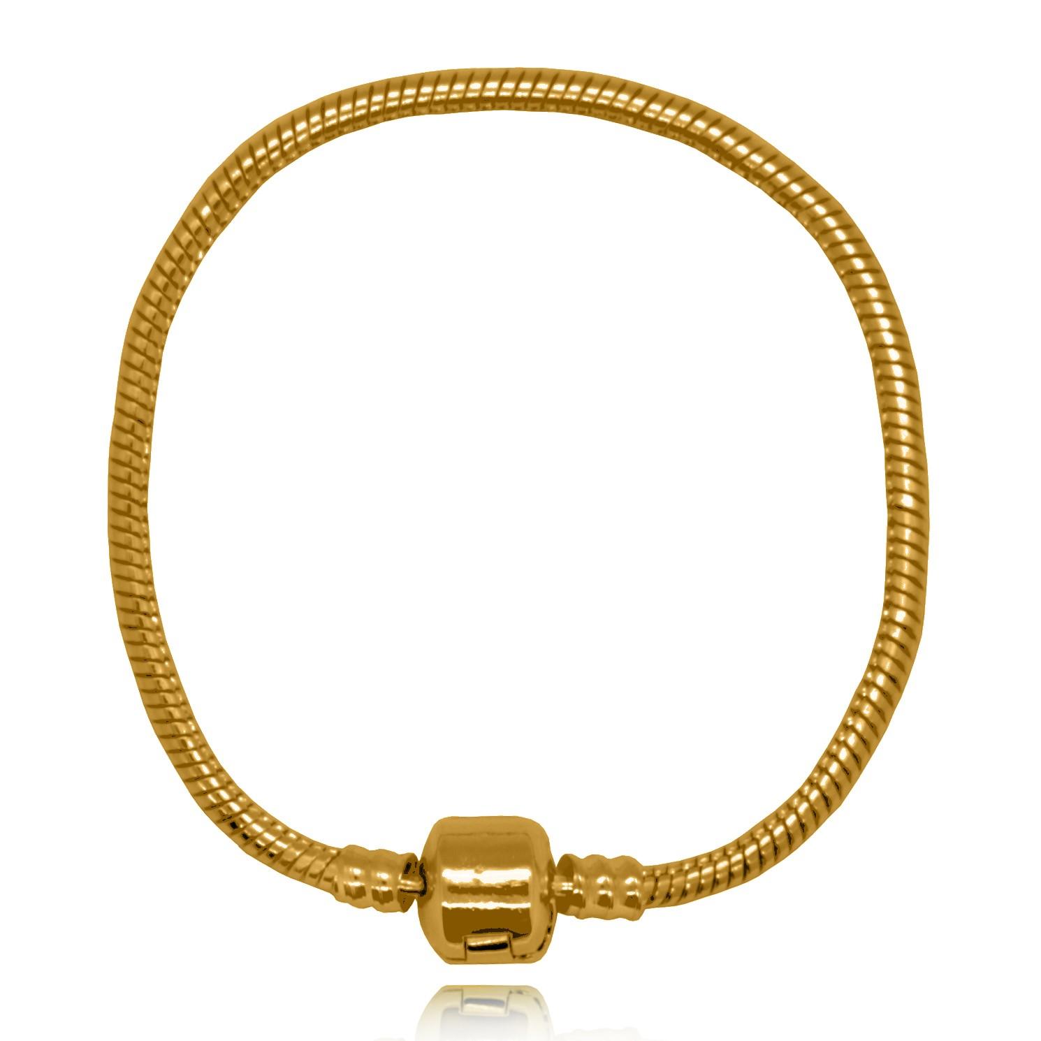 Pulseira para Berloques 17,50 cm Folheada a Ouro 18K  - Lunozê Joias