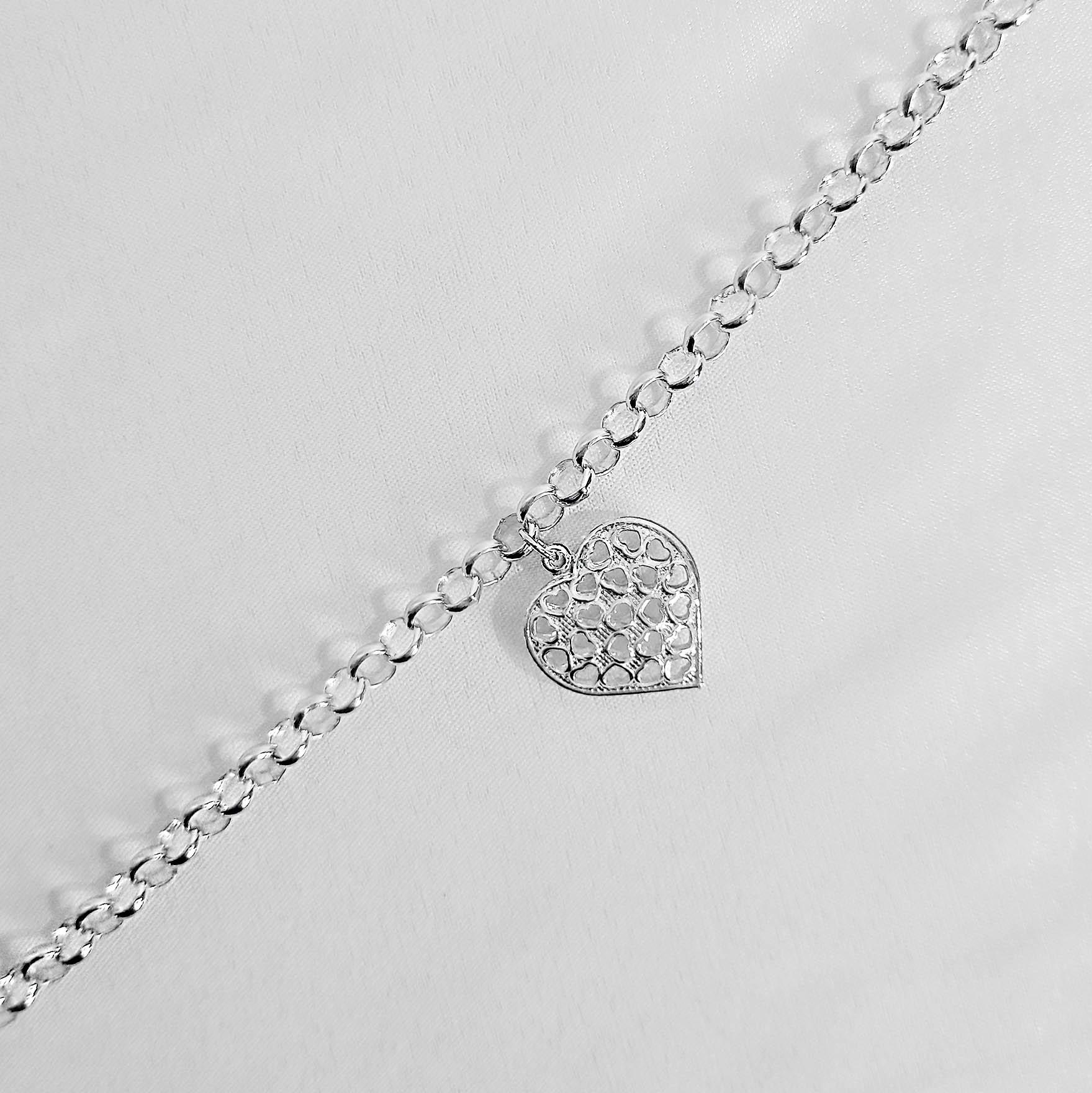 Pulseira Pendente de Coração Vazado Folheada a Prata 1000  - Lunozê Joias