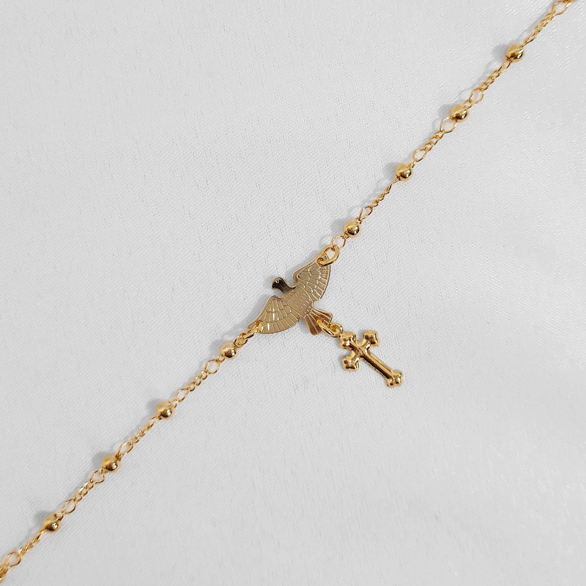 Pulseira Terço Espirito Santo Folheado a Ouro 18K  - Lunozê Joias