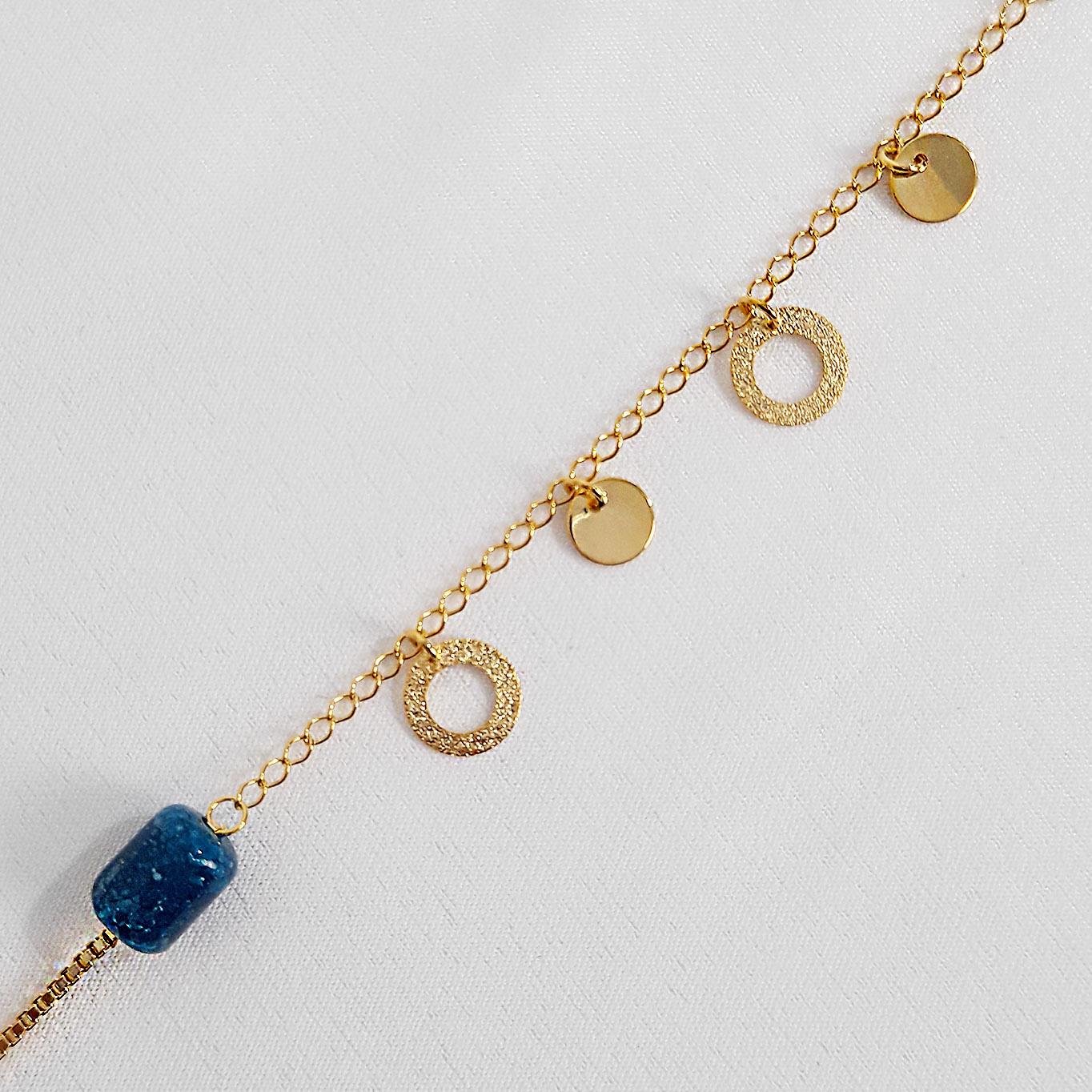 Pulseira Veneziana com Miçanga Azul Folheado a Ouro 18K  - Lunozê Joias
