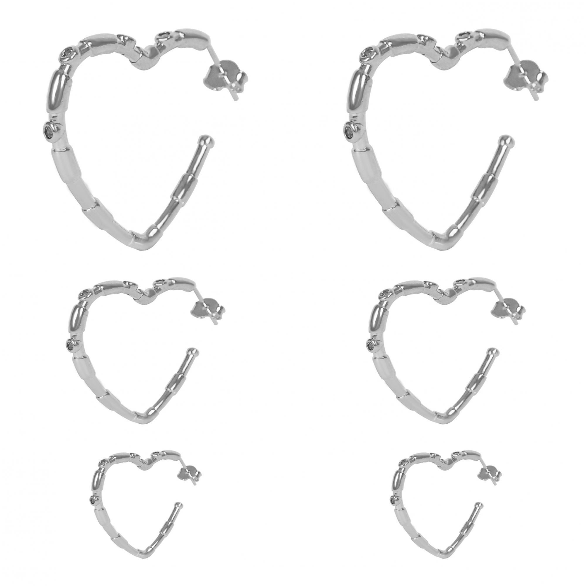Trio de Brincos Argolas Coração Folheado a Prata 1000  - Lunozê Joias