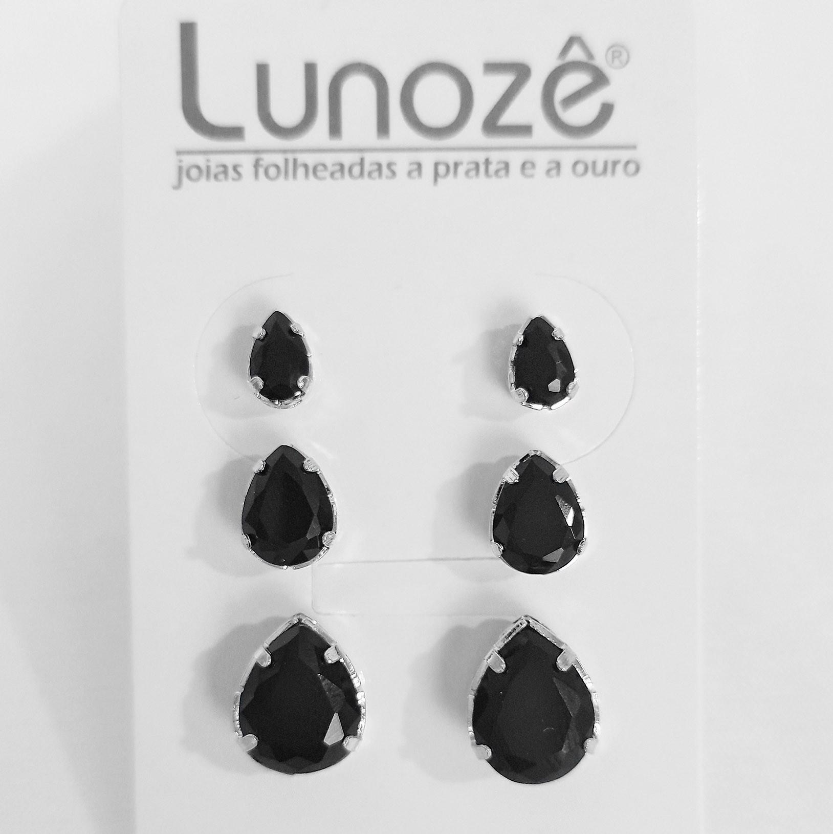 Trio de Brincos Gotas Folheado a Prata 1000  - Lunozê Joias