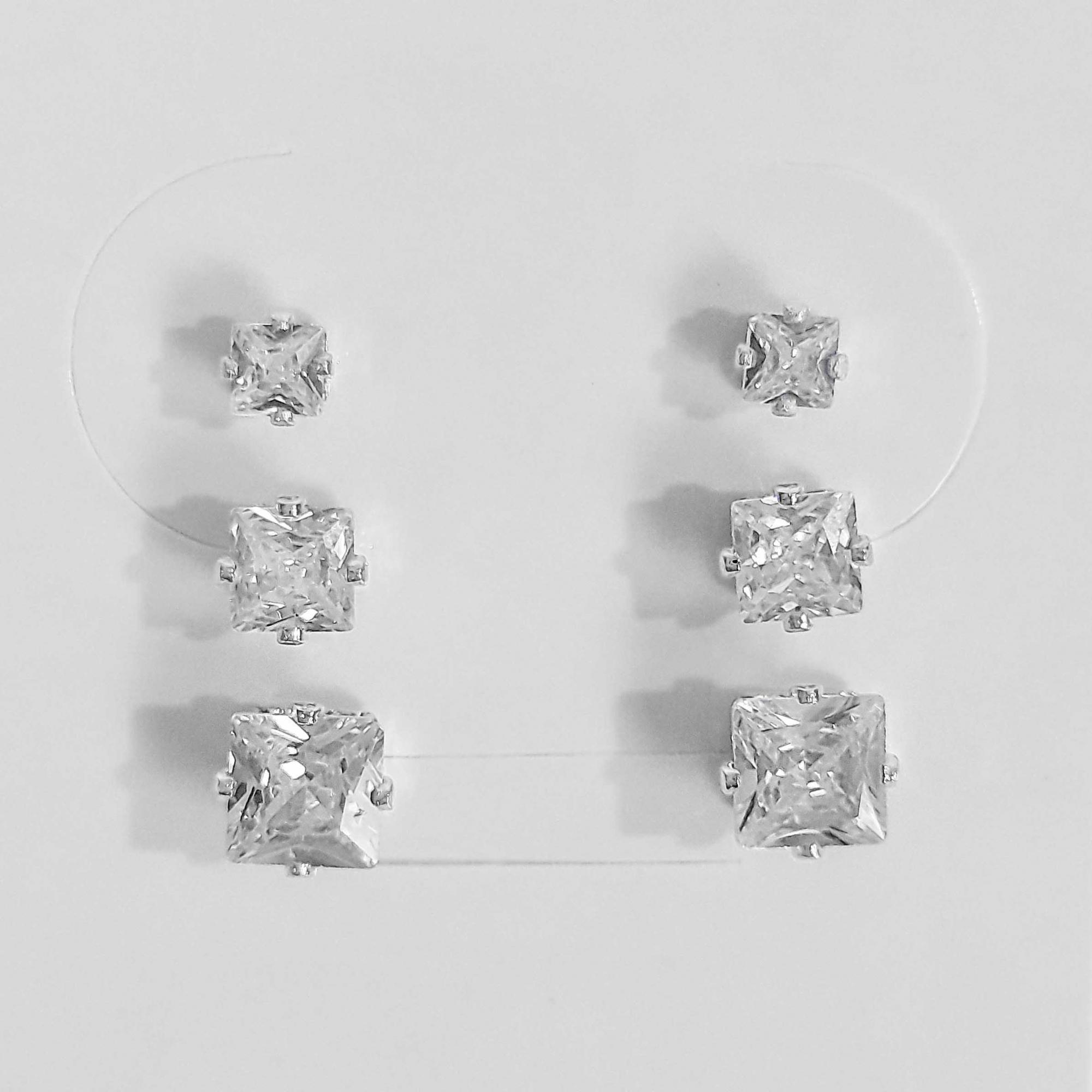 Trio de Brincos Quadrados Zircônias Folheado a Prata 1000  - Lunozê Joias