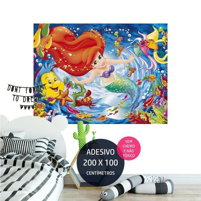 a pequena sereia adesivo parede artigos festa infantil AP2039