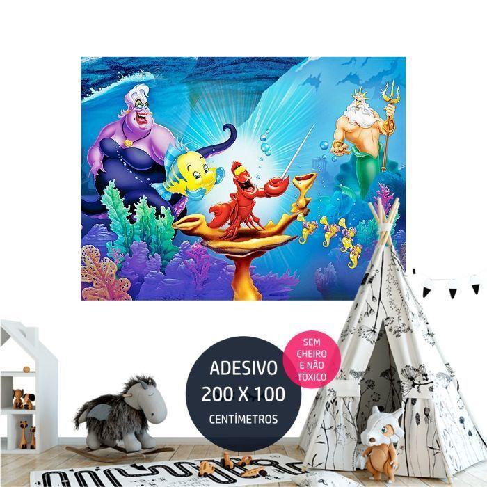 a pequena sereia adesivo parede decoracao de festa infantil AP2045