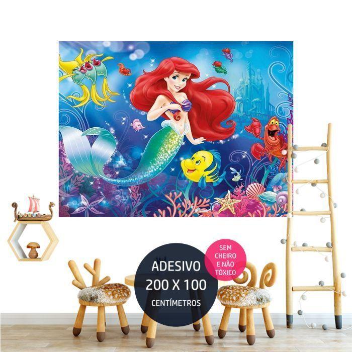 a pequena sereia adesivo parede festa infantil decoracao AP2049