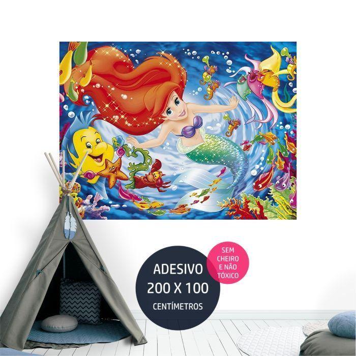 a pequena sereia adesivo parede festa infantil temas AP2056