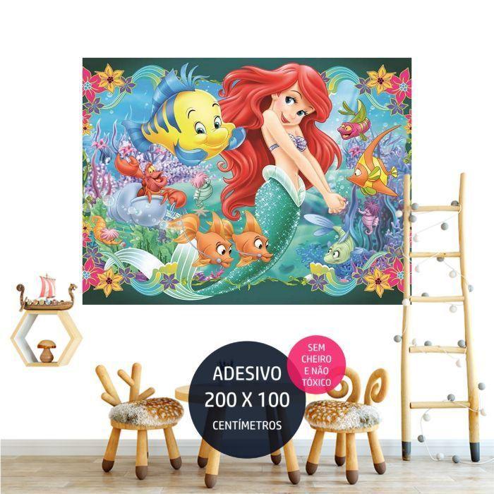 a pequena sereia adesivo parede festa infantil tematica AP2062