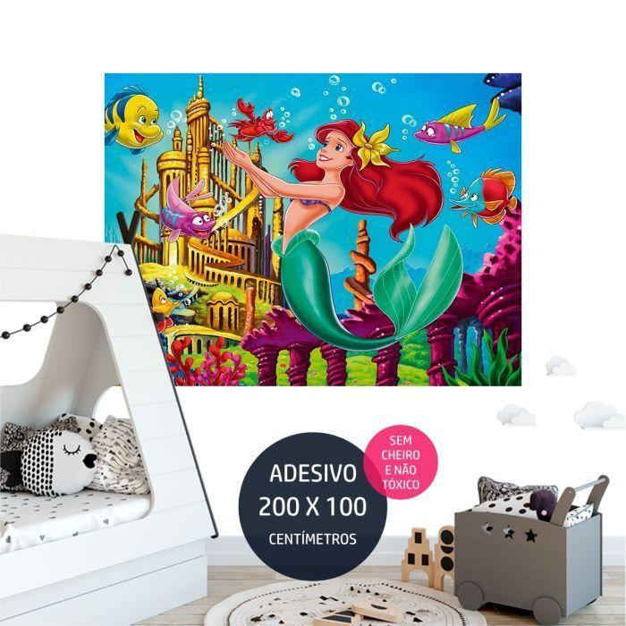a pequena sereia adesivo parede painel festa AP2087