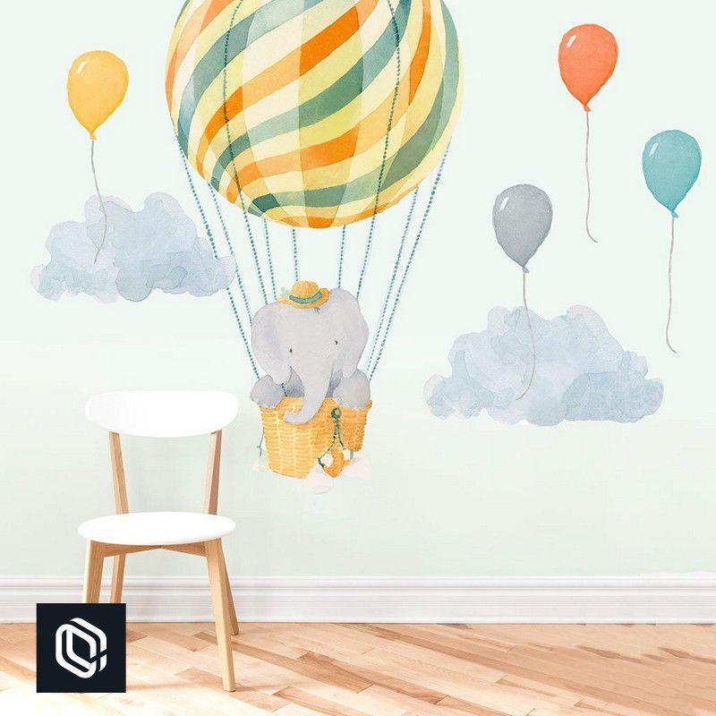 Adesivo bebê de parede balão colorido elefante voando cesto