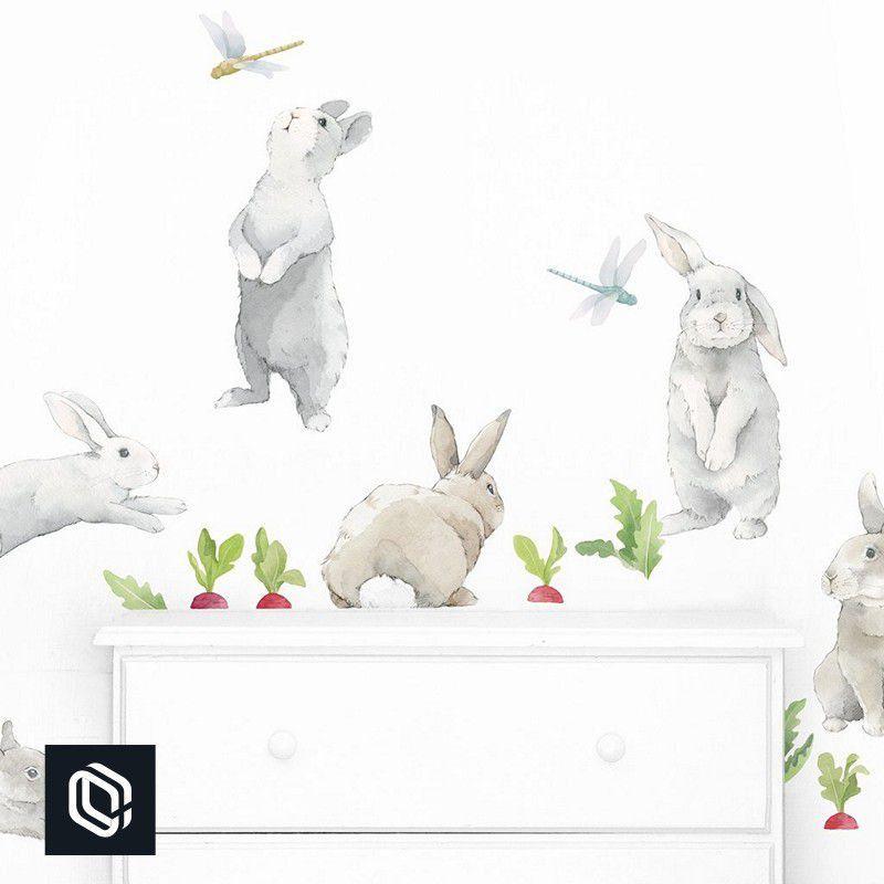 Adesivo kit recorte decoração kids coelho animal cenoura