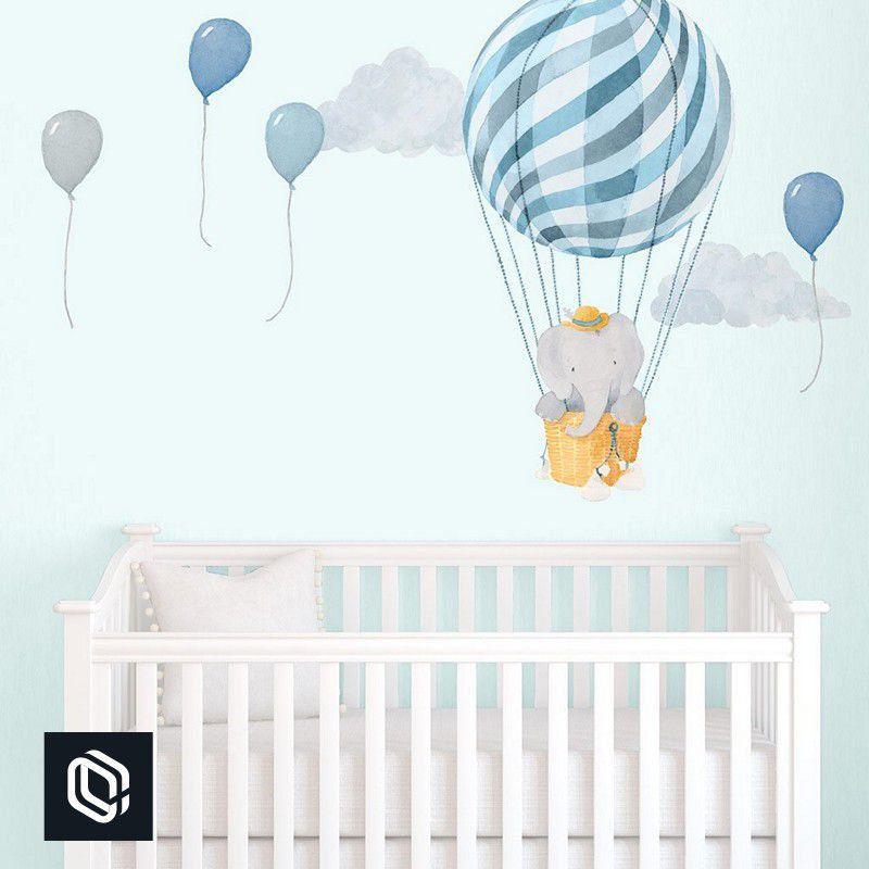 Adesivo bebê de parede decoração infantil elefante no balão