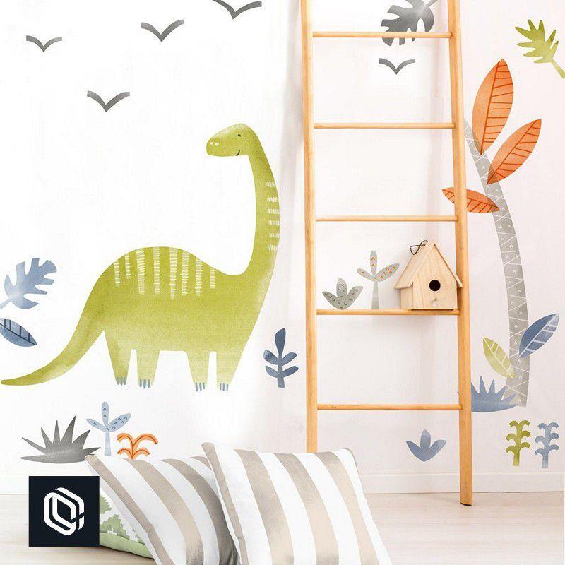 Adesivo bebê de parede floresta dinossauro zoo infantil