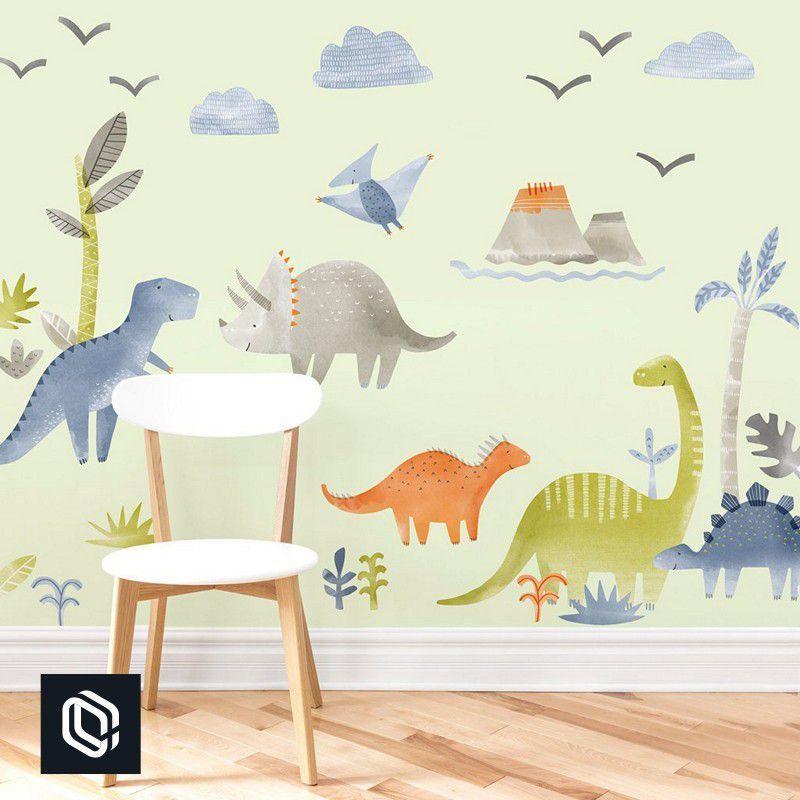 Adesivo decoração de parede floresta dinossauros variados