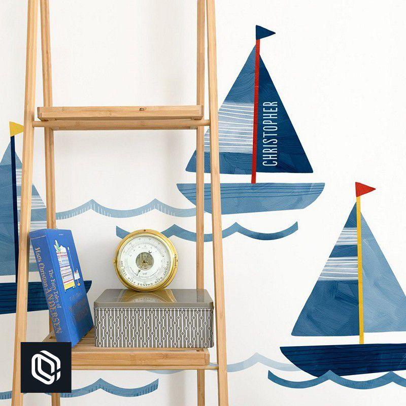 Adesivo infantil de parede barco a vela azul quarto