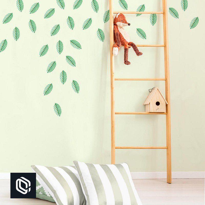 Adesivo infantil de parede folhas verde de árvore
