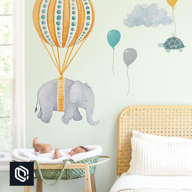 Adesivo infantil parede balão laranja elefante menino menina