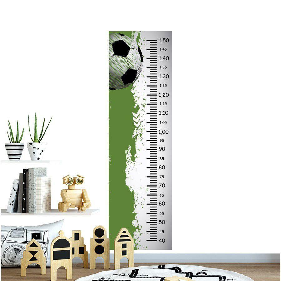 Adesivo Infantil Régua bola futebol fundo verde branco