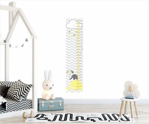 Adesivo Infantil Régua Crescimento Elefante Cinza Amarelo