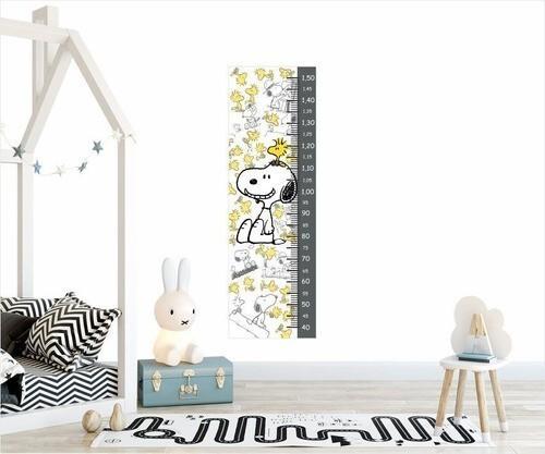 Adesivo Infantil Régua Crescimento Medidora Quarto Snoopy Cinza