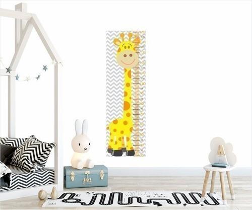 Adesivo Infantil Régua Crescimento Safari Girafa Amarela