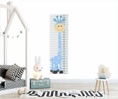 Adesivo Infantil Régua Crescimento Safari Girafa Azul