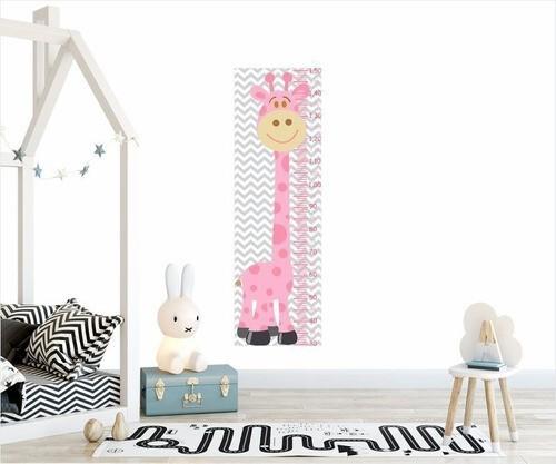 Adesivo Infantil Régua Crescimento Safari Girafa Rosa