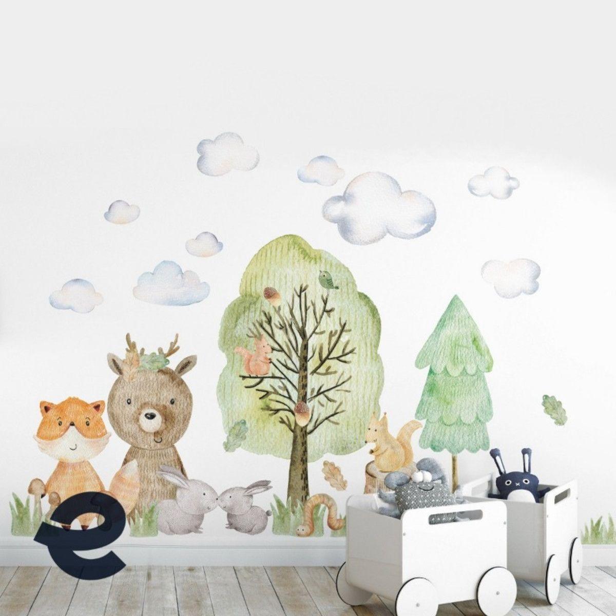 Adesivo kit infantil aquarela árvore floresta animais zoo