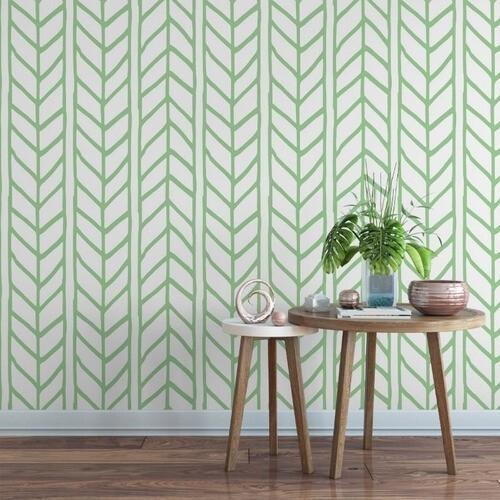 Adesivo papel de parede decoração chevron verde