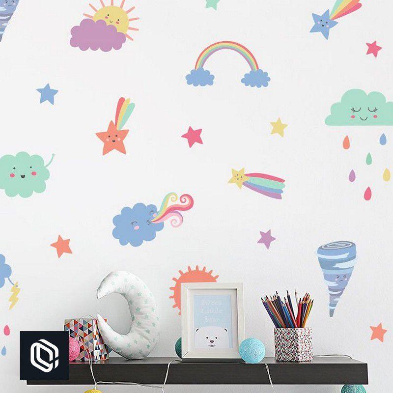 Adesivo Parede Infantil Arco-Íris Nuvens Coloridas 50unds