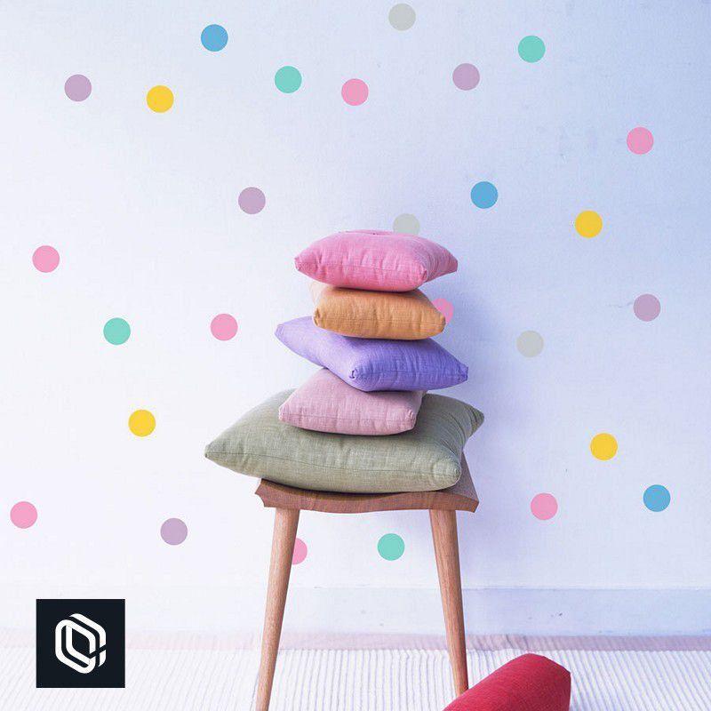 Adesivo parede infantil bolinhas coloridas arco-íris 200unds