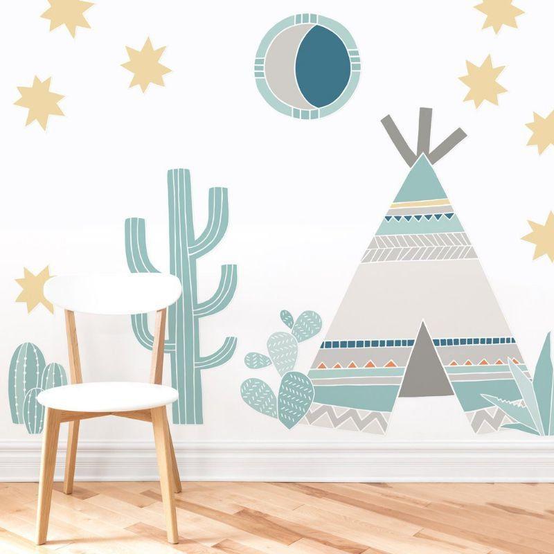 Adesivo parede infantil oca índio tribo cactos decoração quarto