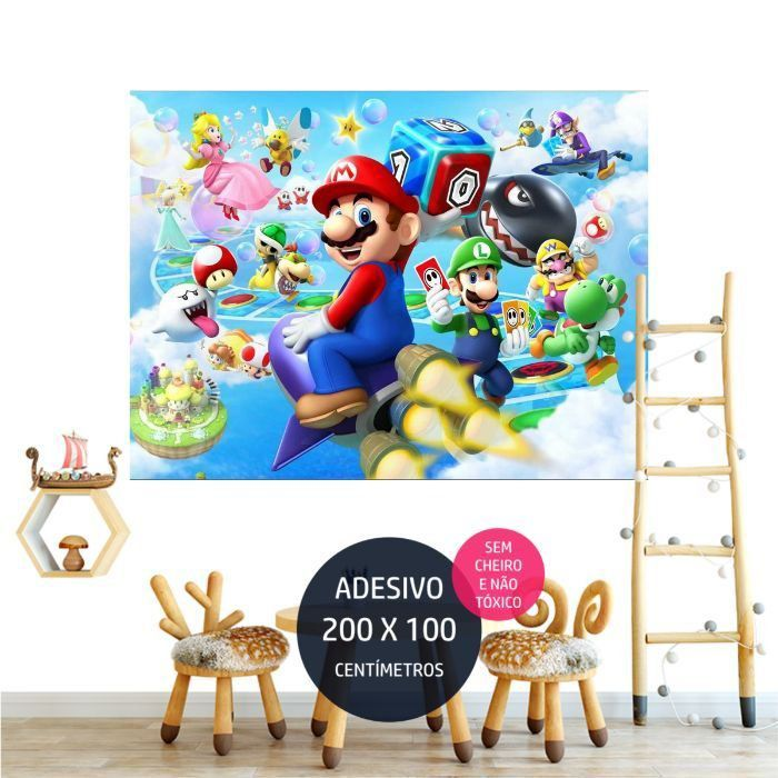 adesivo parede mario bross decoracao de festa infantil AP1074