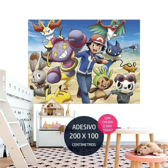 adesivo parede pokemon painel em quarto AP1677