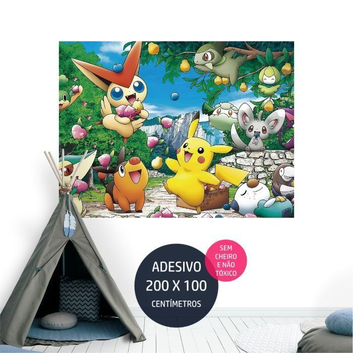 adesivo parede pokemon painel impresso AP1679