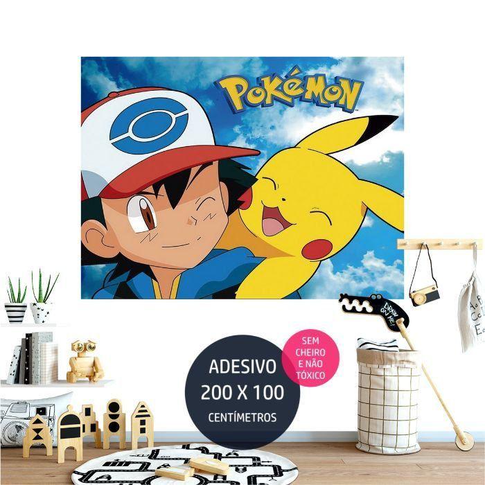 adesivo parede pokemon pikachu AP1691