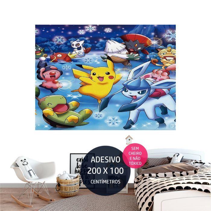 adesivo parede pokemon quarto festa infantil AP1699