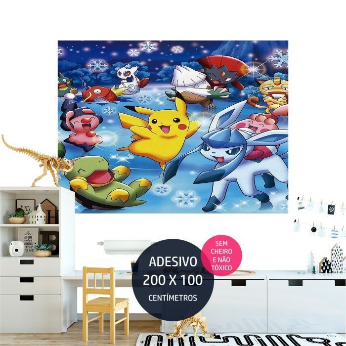 adesivo parede pokemon quarto festa infantil AP1700