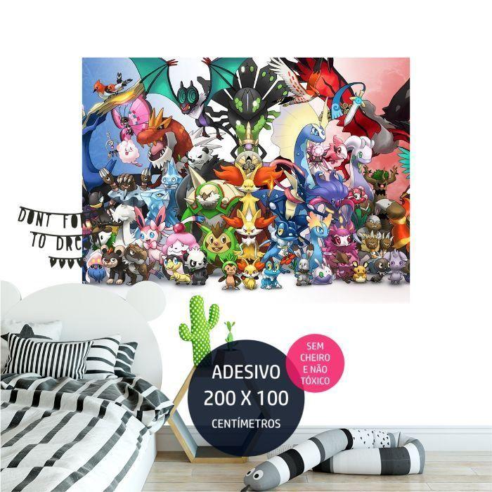 adesivo parede pokemon quarto festa infantil AP1701