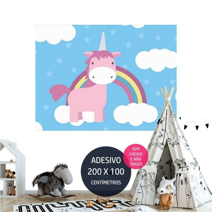 adesivo parede unicornio festa infantil AP1876