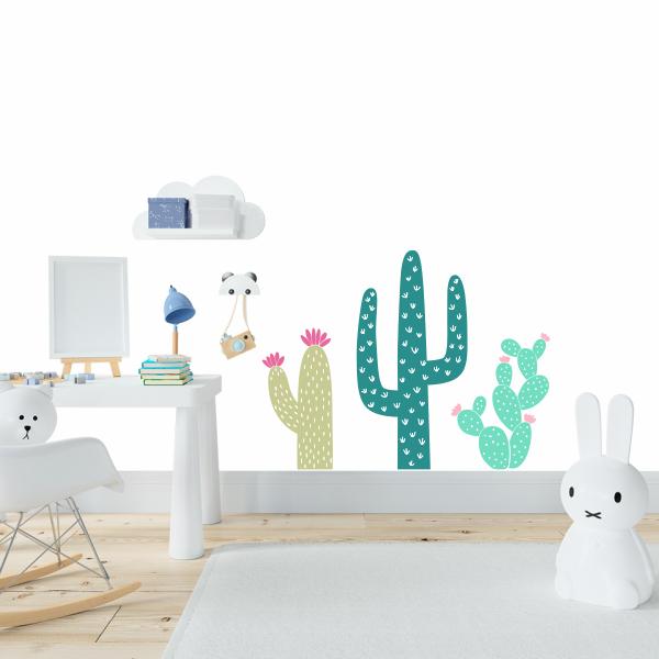 Adesivo quarto de parede decoração três cactos menina menino